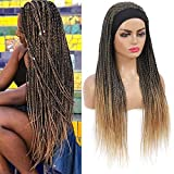 ROSEBONY Headband Wig Box Braided Wigs for Black Women Micro Braids Long Wigs Synthetic Heat Resistant Fiber Blonde Wig (T1b/27)