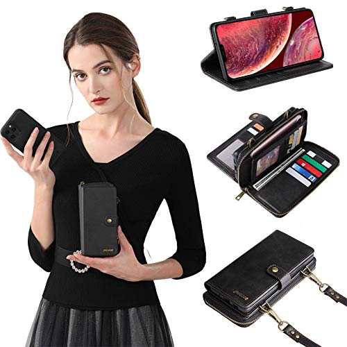 Compatible with iPhone 12/12pro Wallet Case - Detachable and Combinable 2 in 1 Leather iPhone 12 Pro Wallet Case for Women or Daughter- Flip Card Wallet Phone Case Cover (Black, iPhone 12/12Pro)