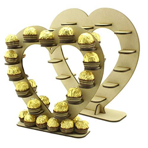 Ferrero Rocher Chocolade Hart Favour Houten Stand Centerpiece, Perfect voor feesten, bruiloften en Valentijnsdag (26cm x 27cm)