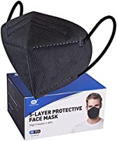 Black Disposable Face Masks 20pcs,5-Layer Cup Dust Masks Filtration Efficiency ≥95%, Individually Packaged PM2.5...
