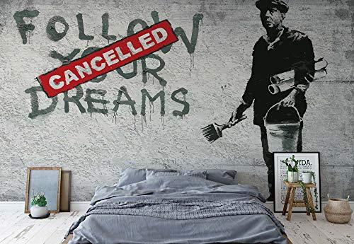 Banksy Graffiti Betonwand - Wallsticker Warehouse - Fototapete - Tapete - Fotomural - Mural Wandbild - (2901WM) - XXXL - 416cm x 254cm - VLIES (EasyInstall) - 4 Pieces