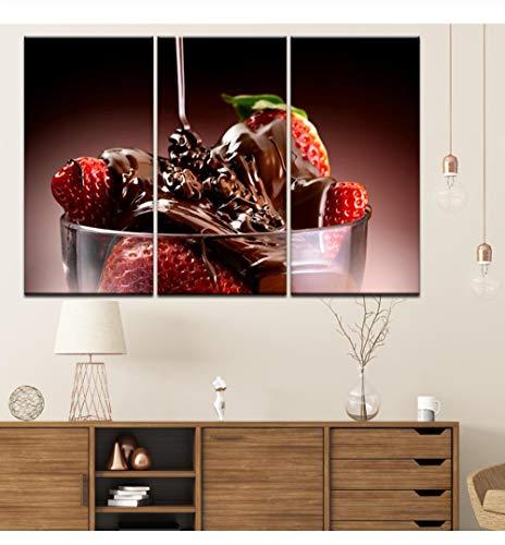 Liafa Leinwandmalerei Erdbeeren Mit Schokolade 3 Stück Wandkunst Modulare Malerei Sport Hintergründe Plakatdruck Hauptdekoration