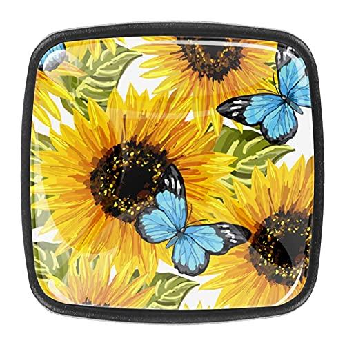 Tiradores cajón cristal 4 piezas perillas gabinete,mariposa flor ,para puerta cocina escritorio tocador