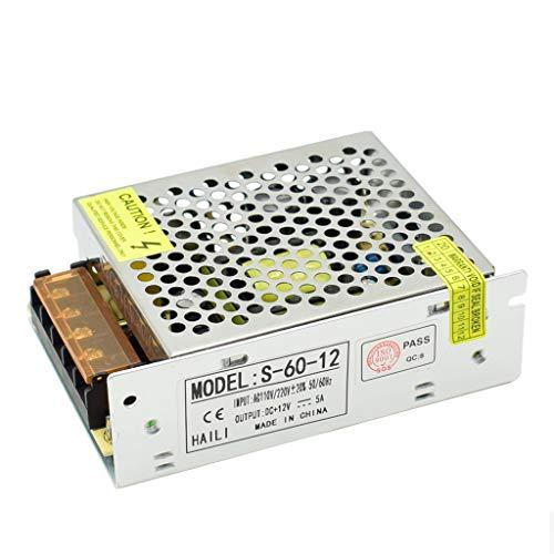 HAILI Transformateur d'alimentation en Mode commuté (SMPS) AC110V / 220V à CC 12V 5A 60W pour Appareil d'éclairage