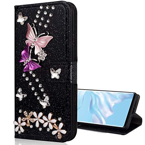 Nadoli Galaxy Note 20 Leder Hülle,Bling Glitzer Diamant 3D Handyhülle im Brieftasche-Stil Schmetterling Blumen Flip Schutzhülle Etui für Samsung Galaxy Note 20,Schwarz