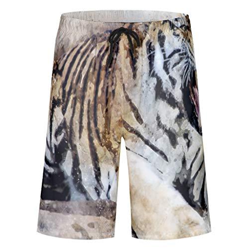 kikomia Herren Badehose Roar Tiger Abstrakte Kunst Druck Tribal Strandbekleidung mit Taschen Mesh Futter White 6XL