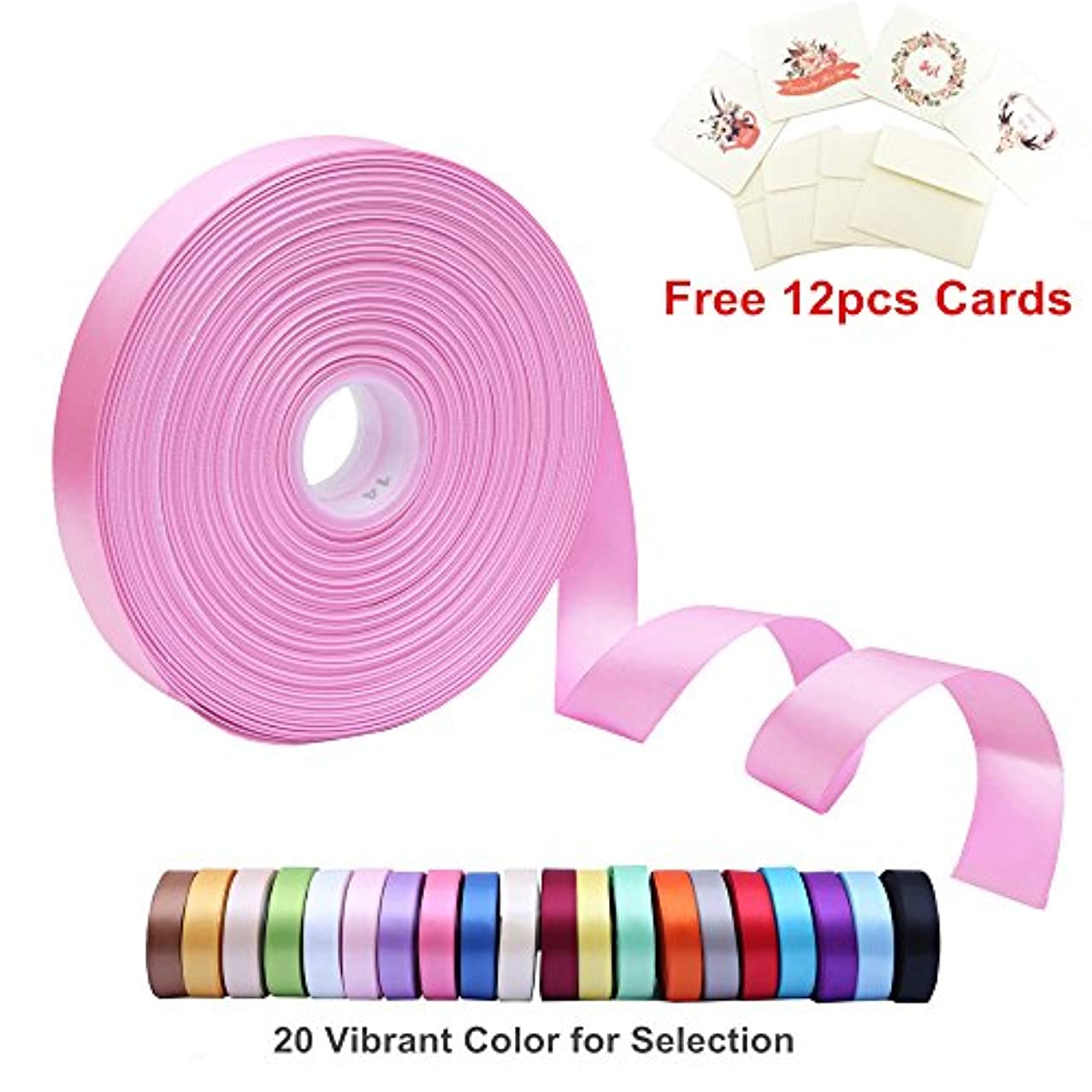 Double Face Satin Ribbon 1 Inch Wide x 100 Yard Roll (300 FT Spool) with Free 12 Greeting Cards for Art & Sewing, Party/Wedding Favor Ribbons, Pearl Pink