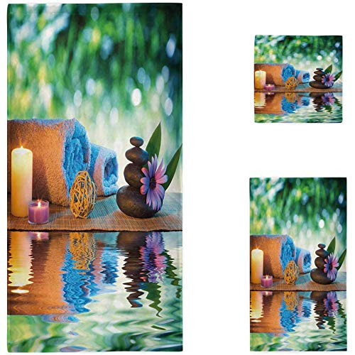 Nomorer Spa 3 Piece Towel Set, Culture Inspiration Chinese Japanese Candles Zen Meditation Stones Bathroom Beach Sheet, Green Orange Lavander