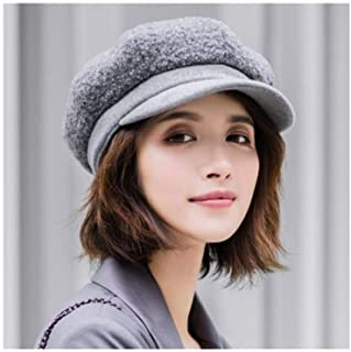 WYMAI Beret, Ladies Autumn and Winter Cap, Lamb Plush Ladies Octagonal Cap, Painter Hat, Multi-Color Optional [56-58CM] Simple and Practical Product (Color : Gray)