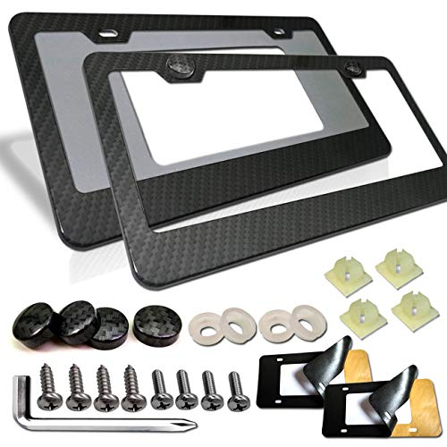 Aootf Carbon Fiber License Plate Frames - 2 Pack Aluminum Black 2 Holes Plate Frames, Front & Rear Holder with Stainless Steel Screws, Carbon Fiber Pattern Screw Caps and 2Pcs Anti-Rattle Foam Pads