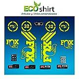 Ecoshirt RE-S5AF-7RIE Pegatinas Sticker Fork Fox 32 Am63 Aufkleber Decals Autocollants Adesivi Forcela Gabel Fourche, Amarillo Fluor