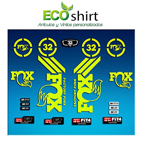 Ecoshirt RE-S5AF-7RIE Pegatinas Sticker Fork Fox 32 Am63 Aufkleber Decals Autocollants Adesivi Forcela Gabel Fourche, Amarillo Fluor
