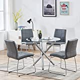 Modern Dining Table Chairs Set,Round Table with Clear Tempered Glass Top+4 Grey Faux Leather Dining...