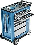 Carro de herramientas, 7Schubladen M 5 x h, 67mm 1 x H, 137mm 1 x H, 207mm Schu balden azul/plata