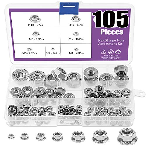105Pcs 304 Stainless Steel Serrated Metric Flange Nuts Hex Lock Nuts Assortment Kit, 7 Sizes - M3 M4 M5 M6 M8 M10 M12
