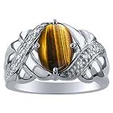Anello da donna con occhio di tigre e diamante in oro bianco 14 carati