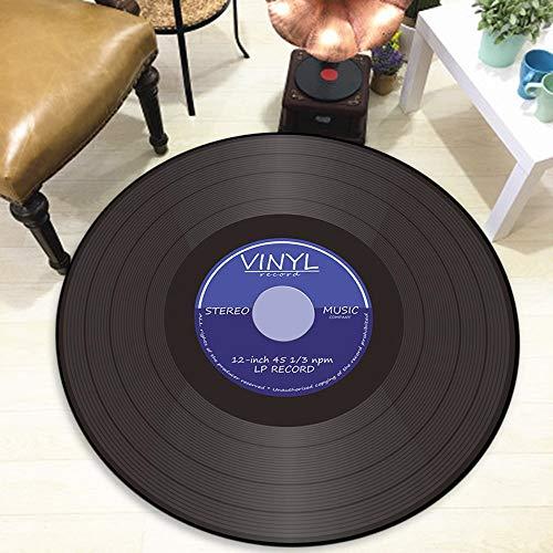 Runde Bodenmatte Sofa Bodendekoration Kreative Schallplatte Design Weichen Stoff Teppich Raum Teppiche(Blau,Diam 60cm)