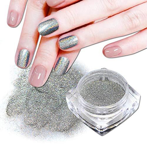 Poudre à ongles,Argent Nail Glitter Poudre Holographique Rainbow Poudre Brillante Nail Art Poussière Décoration Manucure 0.5g / Bouteille
