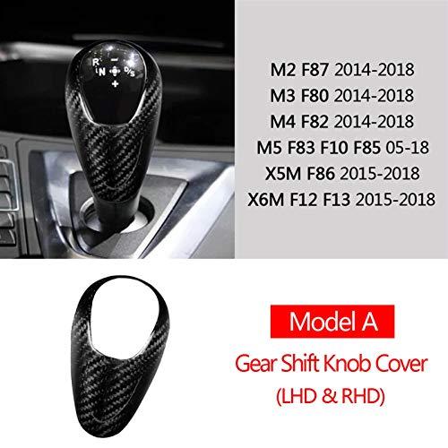 JJJJD Echte Kohlefaser für BMW M2 für F87 M3 F80 für M4 F82 F83 für F85 F86 F10 für F12 F13 Getriebeschaltknopf Baseabdeckung Trim Aufkleber Zubehör (Color : Model A LHD RHD)