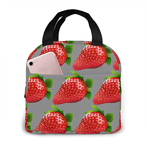 Lunch Bag Strawberry Clipart Portable Insulated Lunch Tote Cooler Lunch Box For Women Men Work Travel Picnic Or Beach