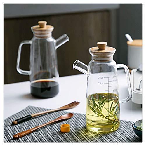 Aiglen Latas de Aceite de Oliva de Vidrio de 650 ML, Recipiente de vinagre, Botella de Salsa de Soja para Cocina, Botella de Almacenamiento de vinagre de Vidrio de Moda con Tapa de bambú