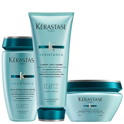 Pack de Kerastase Resistance: Bain Force Architecte, Ciment Anti-Usure y mascarilla Force Architecte