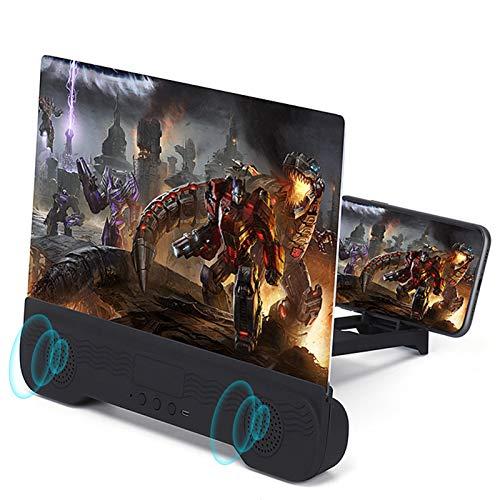 Lupa de pantalla de teléfono de 14 pulgadas con altavoces Bluetooth, proyector de aumento 6D HD para películas, vídeos, juegos, soporte