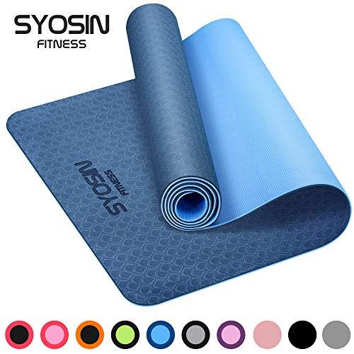 SYOSIN Yogamatte, TPE Gymnastikmatte rutschfest Fitnessmatte für Workout Umweltfreundlich Übungsmatte Sportmatte für Yoga, Pilates Heimtraining, 183 x 61 x 0.6CM