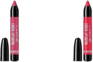Lakme Enrich Lip Crayon, Mauve Magic, 2.2g & Lakme Enrich Lip Crayon, Berry Red, 2.2 g