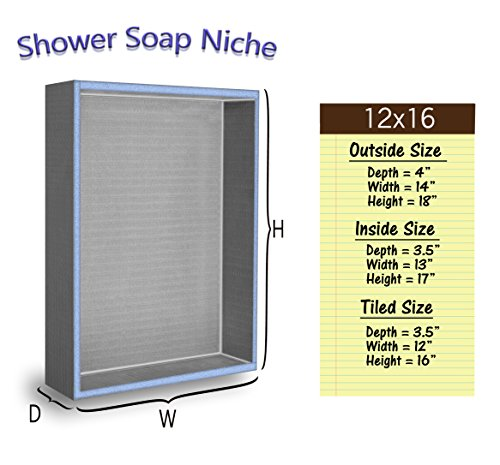 All Tile Shower Niche 12x16 Finished Tiled Size 14x18 Rough Opening Outside Size Recessed Tile Ready Bathroom Soap Dish Shampoo Shelf Made from Wedi Board Shower Caddy