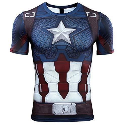 Short Sleeve 3D Print T-Shirt for Men's Captain America Compression Shirt (Small, Blue)