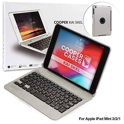 COOPER KAI SKEL P1 Bluetooth Wireless Keyboard Case Compatible with iPad Mini 1 2 3 | Portable Laptop Macbook Clamshell Case Cover with 13 Shortcut Function Keys for Apple iPad Mini 1st 2nd 3rd Silver