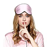 SLHP Schlafmaske, Augenmaske, natürlicher Seidenstoff und natürliche Baumwolle gefüllte Schlafmaske mit verstellbarem Riemen für Herren, Frauen und Kinder Rose