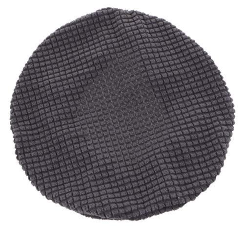 Plüsch Bezug Husse Stuhlbezug Stuhlhusse Sitzbezug für 30-38cm Stuhl Barhocker, Farbwahl - Dunkel grau