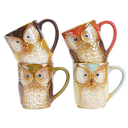 SOPRETY 4er Set Kaffeebecher aus Keramik, groß Tasse 380ml, Kaffeetassen Eule-Motiv 3D Optik, Becher mit Henkel für Frühstück Milch Tee heiße Schokolade, Büro und Zuhause