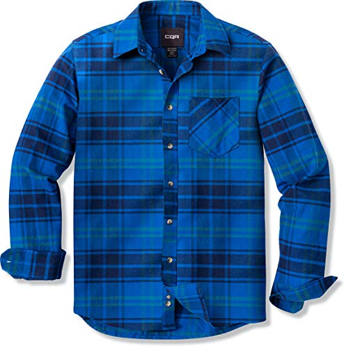 CQR Men's All Cotton Flannel Shirt, Brushed Soft Casual...