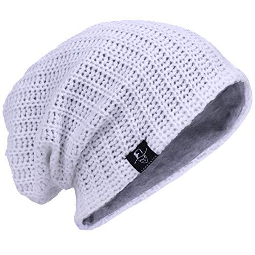 Hombre Gorro de Punto Slouch Beanie Knit Invierno Verano Hat (Acanalado Blanco)