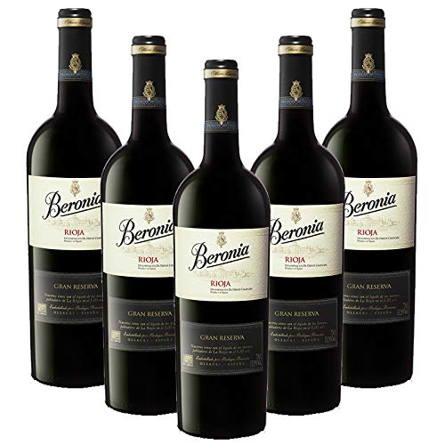Vino tinto Beronia Gran Reserva de 75 cl - D.O. La Rioja - Bodegas Gonzalez Byass (Pack de 5 botellas)