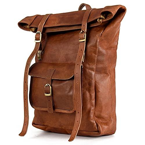 Berliner Bags Mochila de Cuero Leeds Mochila Portátil Hombres y Mujeres Marrón Vintage (Marrón M)