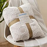 RHF Geometrical Throw Blankets Gifts for Women Gifts for Girls Birthday Gifts for Her Throw Blanket Gifts for Grandma Throw Blankets for Couch Sherpa Fleece Fuzzy Blanket(Light Coffee, 50''x60'')
