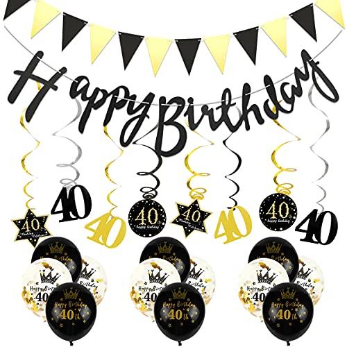Thinbal 40.Geburtstag Deko Schwarz Gold, Geburtstagsdeko 40 mit Happy Birthday Girlande, Deko 40.Geburtstag Mann Spiralverzierung, Wimpelkette, Konfetti Luftballon 40 Jahre für Manner Frau