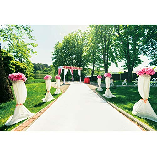 OERJU 5x3ft White Curtain Marriage Wedding Photography Background Way to The Happiness White Carpet Peonies Roses Flowers Park Green Trees Newlyweds Lawn Wedding Ceremony Backdrop Photo Studio Prop