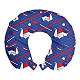 ABAKUHAUS Mar Cojín de Viaje para Soporte de Cuello, Las Ondas de Origami cisnes Seigaiha, de Espuma con Memoria Respirable y Cómoda, 30x30 cm, Bermellón Persa Azul