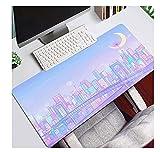 Gaming Mouse Pads Anime Sailor Moon Gaming Mouse Pad Kawaii Large Lock Edge Keyboard Mat Pink Purple Computer Desk Mat 700x300mm/L