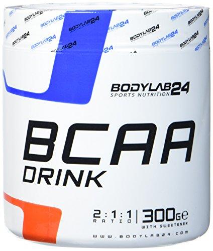Bodylab24 BCAA Drink 300g | Aminosäuren Pulver | Leucin, Isoleucin und Valin im Verhältnis 2:1:1 | hochdosiertes BCAA Pulver zum Muskelaufbau | Himbeer-Limette