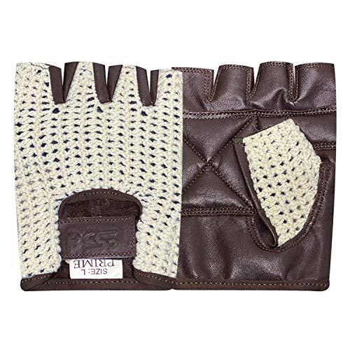 Prime Leather Guantes para Ciclismo de Cuero y Malla con Medios Dedos para Entrenamiento, Gimnasio - Antideslizante - Acrílico, Chica, H.F. Marrón-Blanco