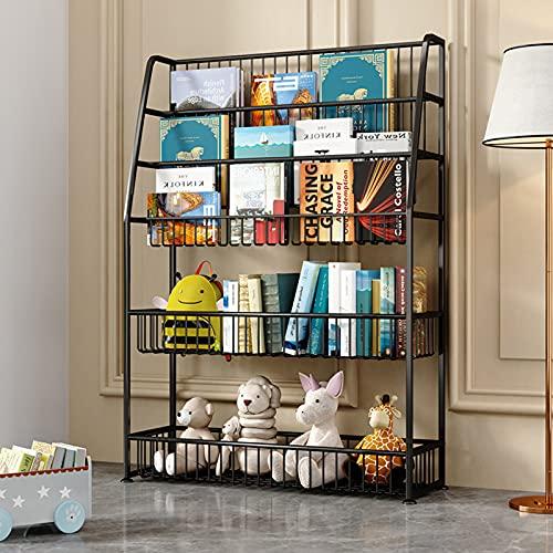 oxskk Niños Estante para Libro,5 Niños Estante De Libros Librería Infantil para Kid Toy Storage Organizer,Multiusos Piso Estantes De Almacenamiento De Pantalla-Negro 75x25x110cm(30x10x43inch)