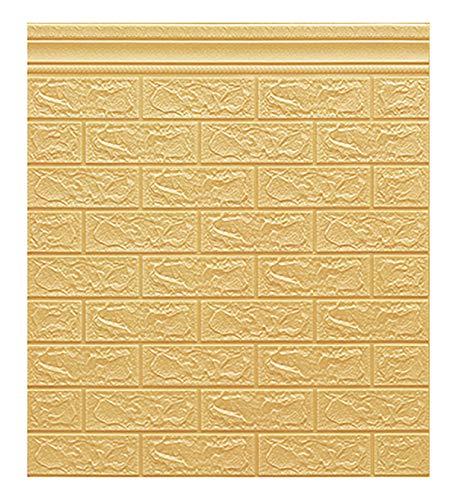 LXZFJW Papel pintado 3D ladrillo piedra papel pintado adhesivo en el panel de pared removible decoración del hogar papel pintado ladrillo imitación 3D ladrillo pared auto-adhesivo pared amarillo 40pcs