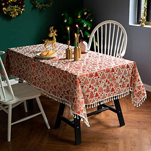 XIAOE Home Decoration Tablecloth Green Red Bronzing Christmas Tree Decoration Tablecloth Dust Proof Table Cover Photography Background Cloth Kitchen Dinning Party 90 * 140cm