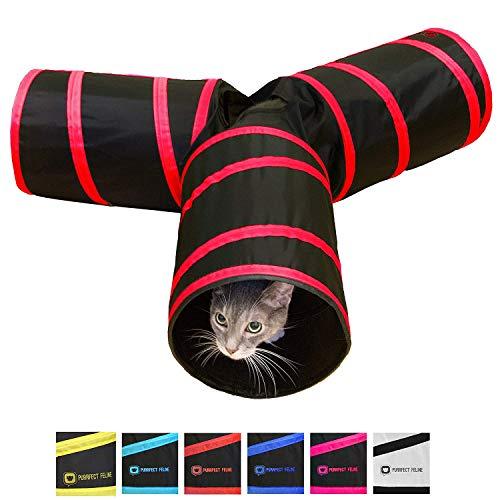 Purrfect Feline Tunnel of Fun, zusammenklappbarer 3-Wege-Katzentunnel, Spielzeug mit Knistern, Größe M, Rot